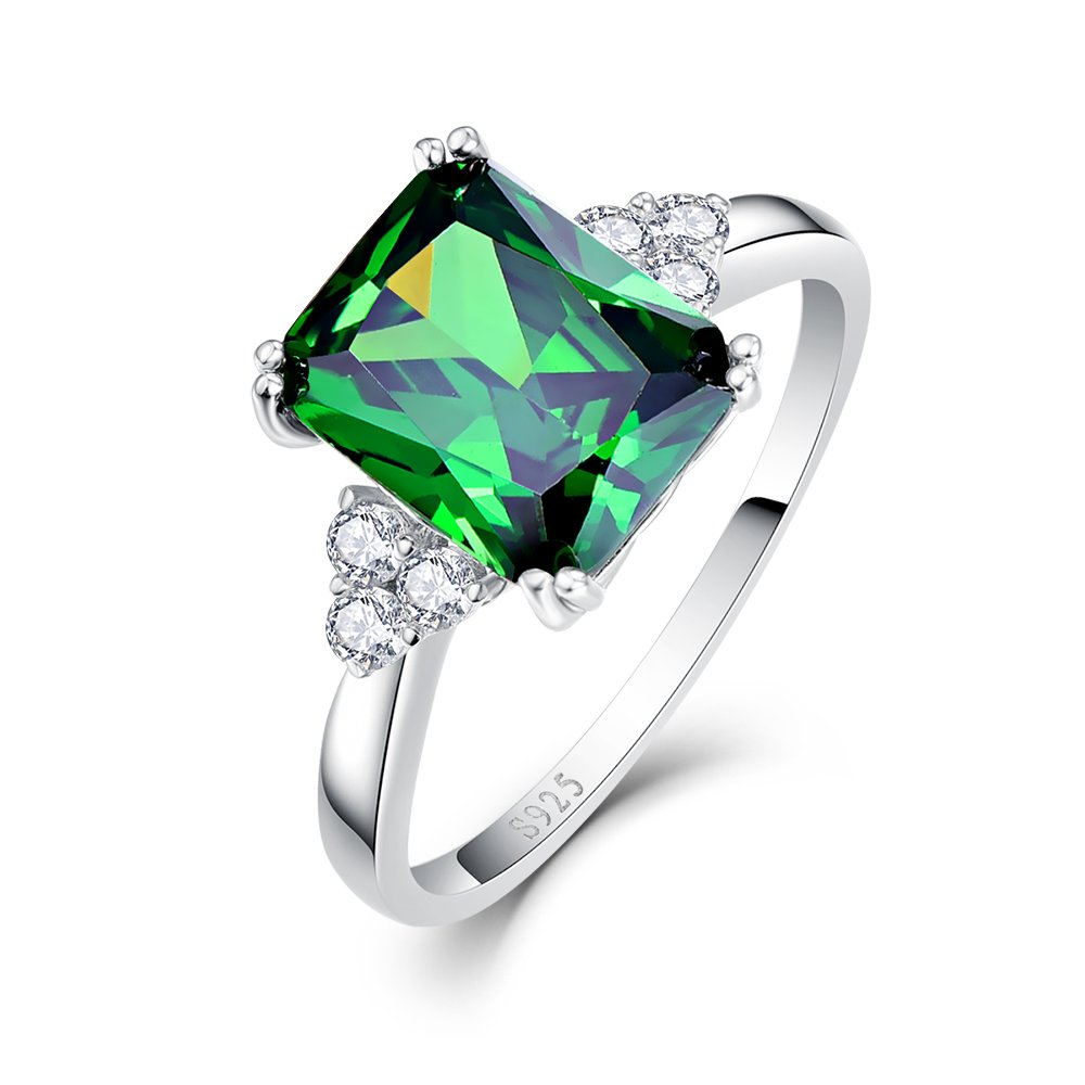 BONLAVIE Solid Sterling Silver Emerald Cut Created Green Emerald Cubic Zirconia Solitaire Engagement Ring Size 7