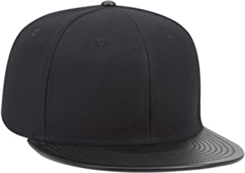 OTTO SNAP Faux Leather Round Flat Visor 6 Panel Pro Style Snapback Hat 87509fa70