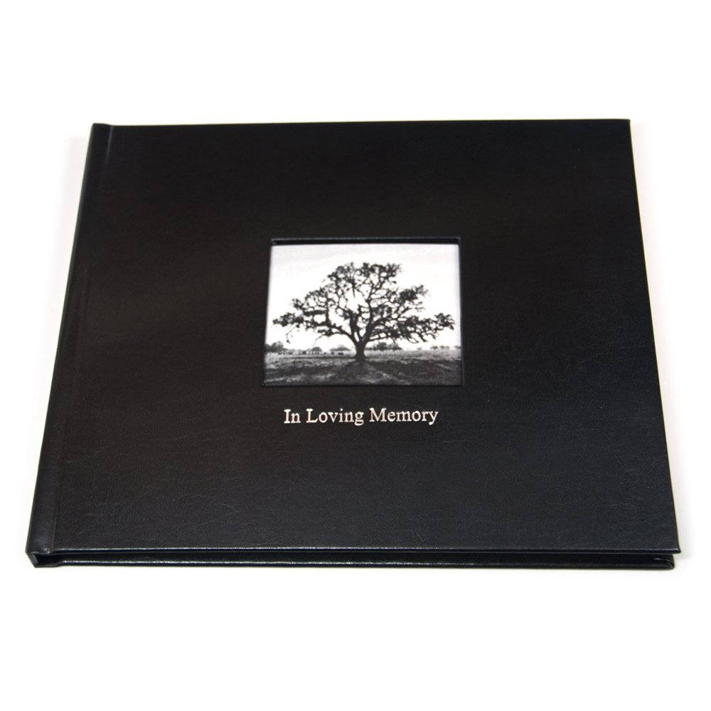 Life Celebration Memorial Guest Book with ''In Loving Memory'' Embossed in Silver & Lined Pages - Black Leather