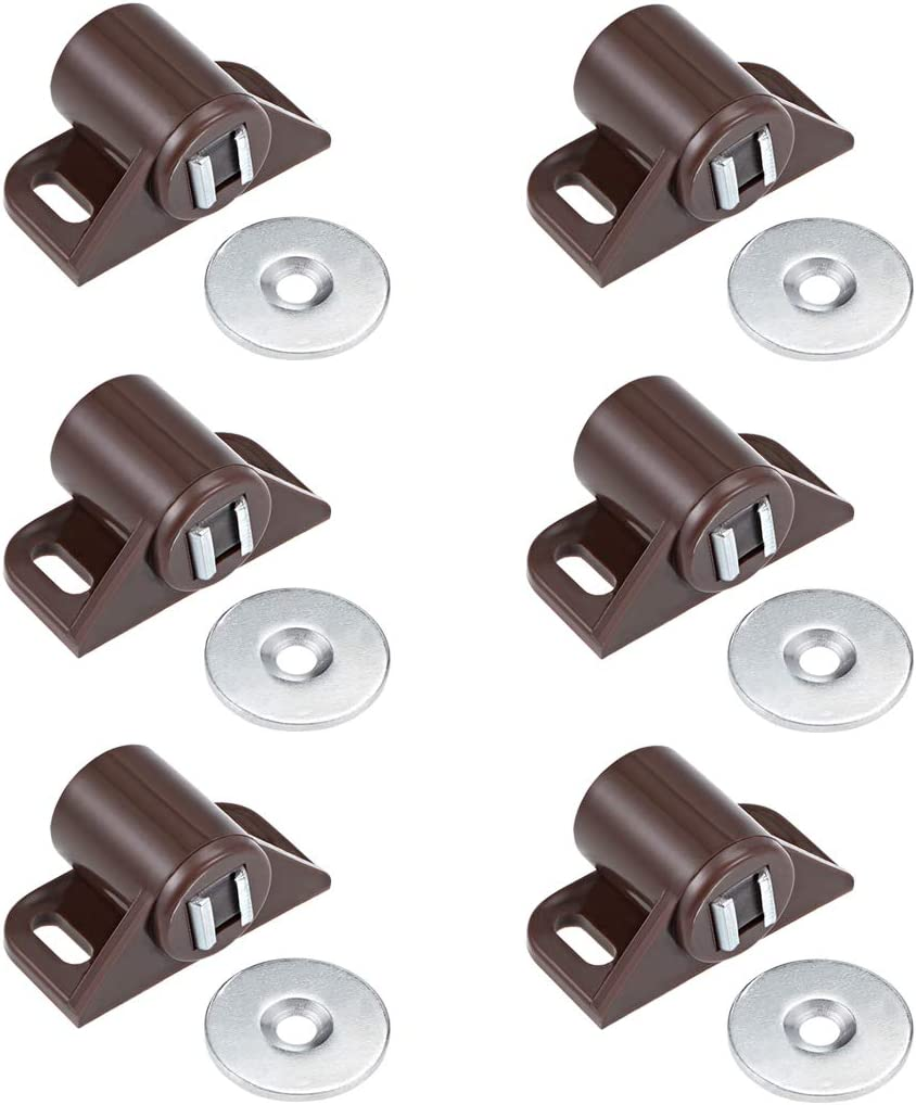 uxcell Magnetic Catches Catch, Cabinet & Door Magnet Latch Catch Cabinet Hardware Fittings for Cupboards, Drawers, Closet Brown 6pcs