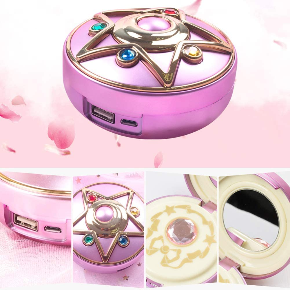 Anime Captor Sailor Moon Crystal Star 8000mAh Power Bank Charger with Mirror and Light Support Wireless Charge