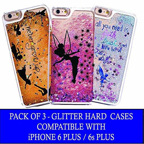 Pack Of 3 - iPhone 6 Plus / 6s Plus Compatible, Glitter Pixie Dust Faith Fairy Tale Angel Series Dynamic Hard Case Bumper Clear Cover - Blue Fairy Faith + Black Fairy Faith + Never Grow Up -
