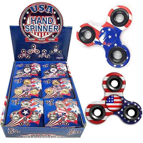 iGifts Inc. American Flag Fidget Spinner Sensory Patriotic USA Party Favor Novelty Toy (Pack of 24) (What's The Best Fidget Spinner Brand)