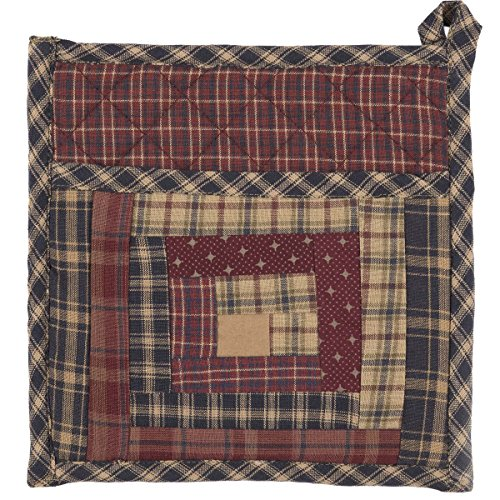 VHC Brands Rustic & Lodge Tabletop & Kitchen - Millsboro Red Patch Pot Holder, 8