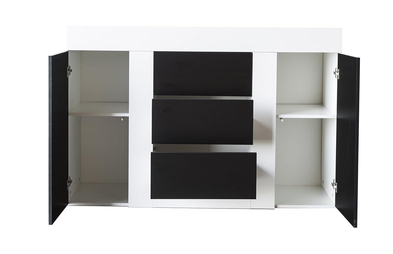Coloris Blanc-Noir PEGANE Buffet Alice avec 2 Portes et 3 tiroirs L1400 x H920 x P396 mm