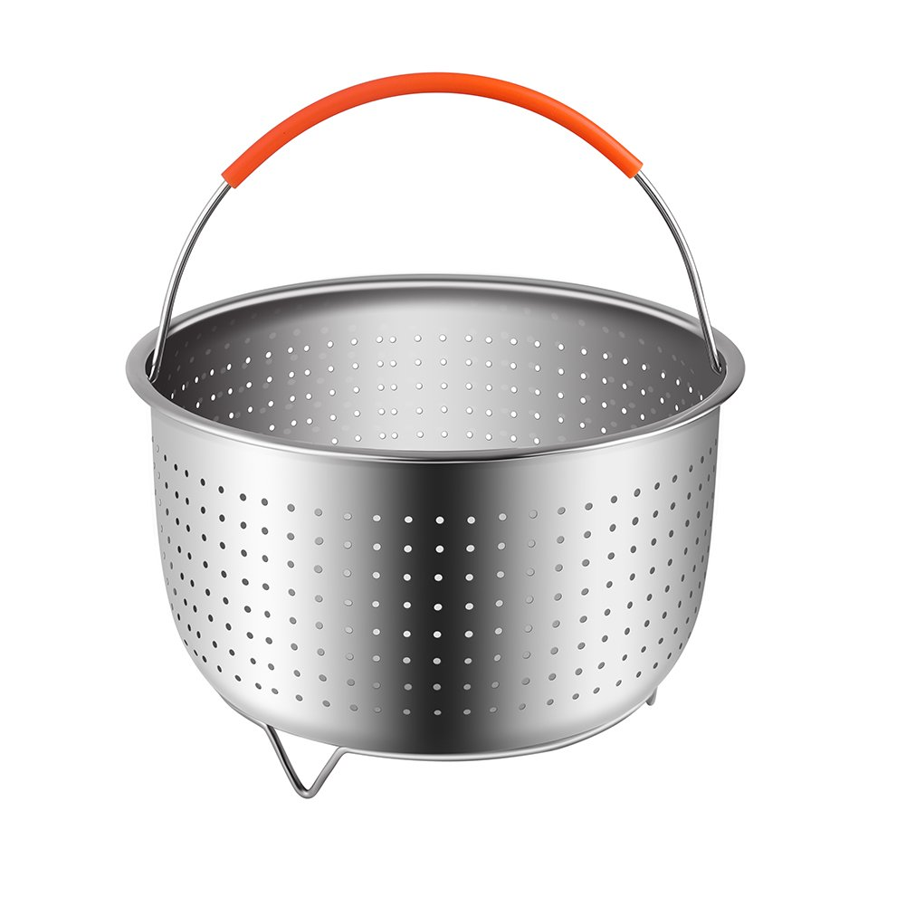 The Original Sturdy Steamer Basket for 6 or 8 Quart Instant Pot Pressure Cooker, 304 Stainless Steel Steamer Insert with Silicone Covered Handle, Great for Steaming Vegetables Fruits Eggs