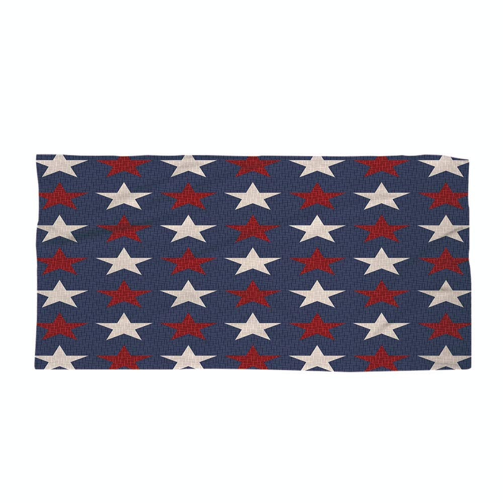 iPrint Cotton Microfiber Beach Towel,Primitive Country Decor,Symmetric Stars United States Independence Freedom Theme Decorative,Dark Blue Ruby White,for Kids, Teens, and Adults