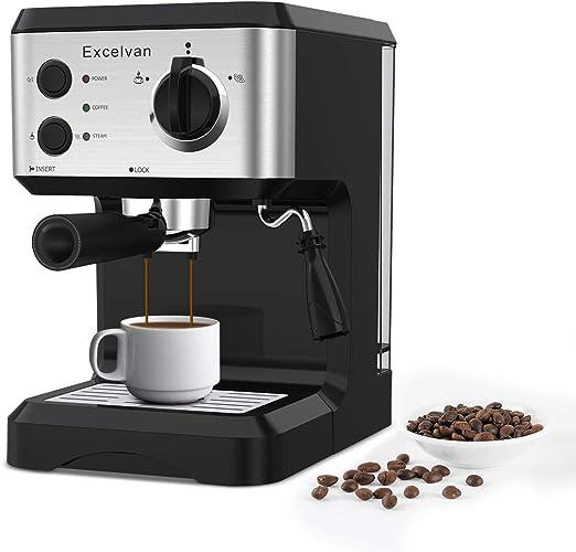 Excelvan Cafetera Espresso 1.25L, 15 Bares con Embudo de Metal ...