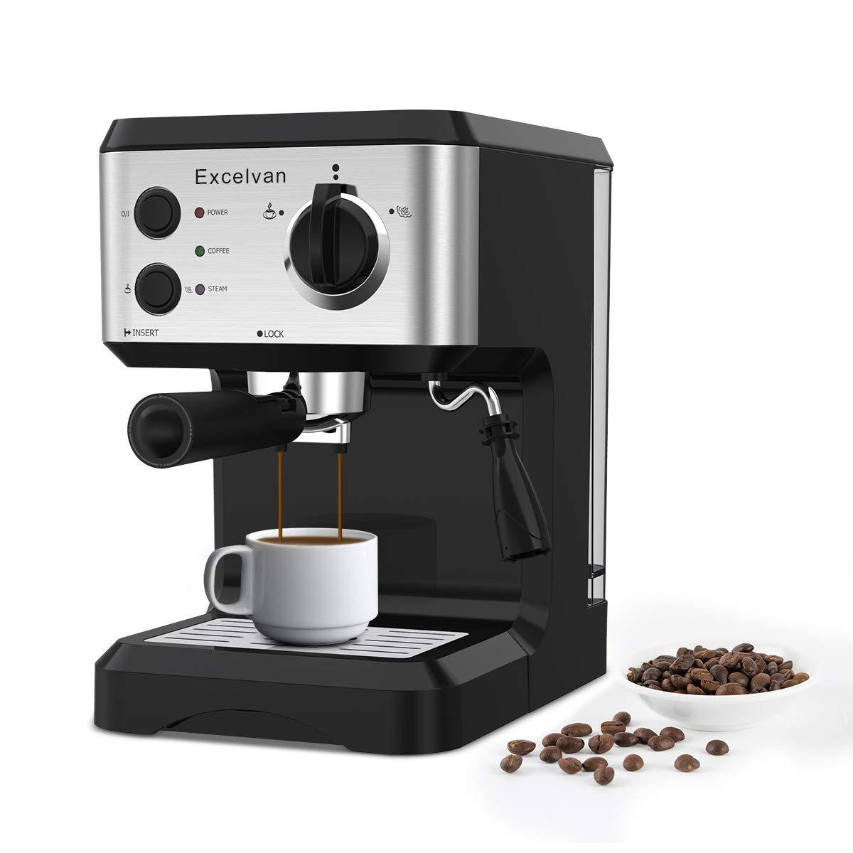 Excelvan Cafetera Espresso 1.25L, 15 Bares con Embudo de Metal Removible, Espumador de Leche para Capuchinos y Lattés, Color Negro&Plateado