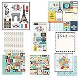 Scrapbook Customs Themed Paper and Stickers Scrapbook Kit, Paris City Memories