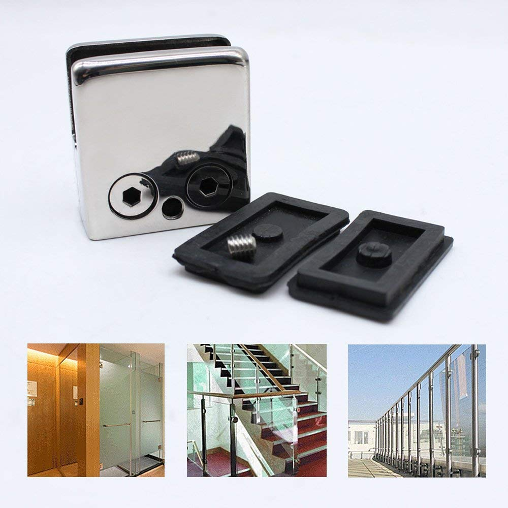 20PCS Soporte de abrazadera de vidrio 10 mm Acero inoxidable 304 Abrazaderas de vidrio Soporte de vidrio ajustable Parte posterior plana para barandilla de escalera de barandilla