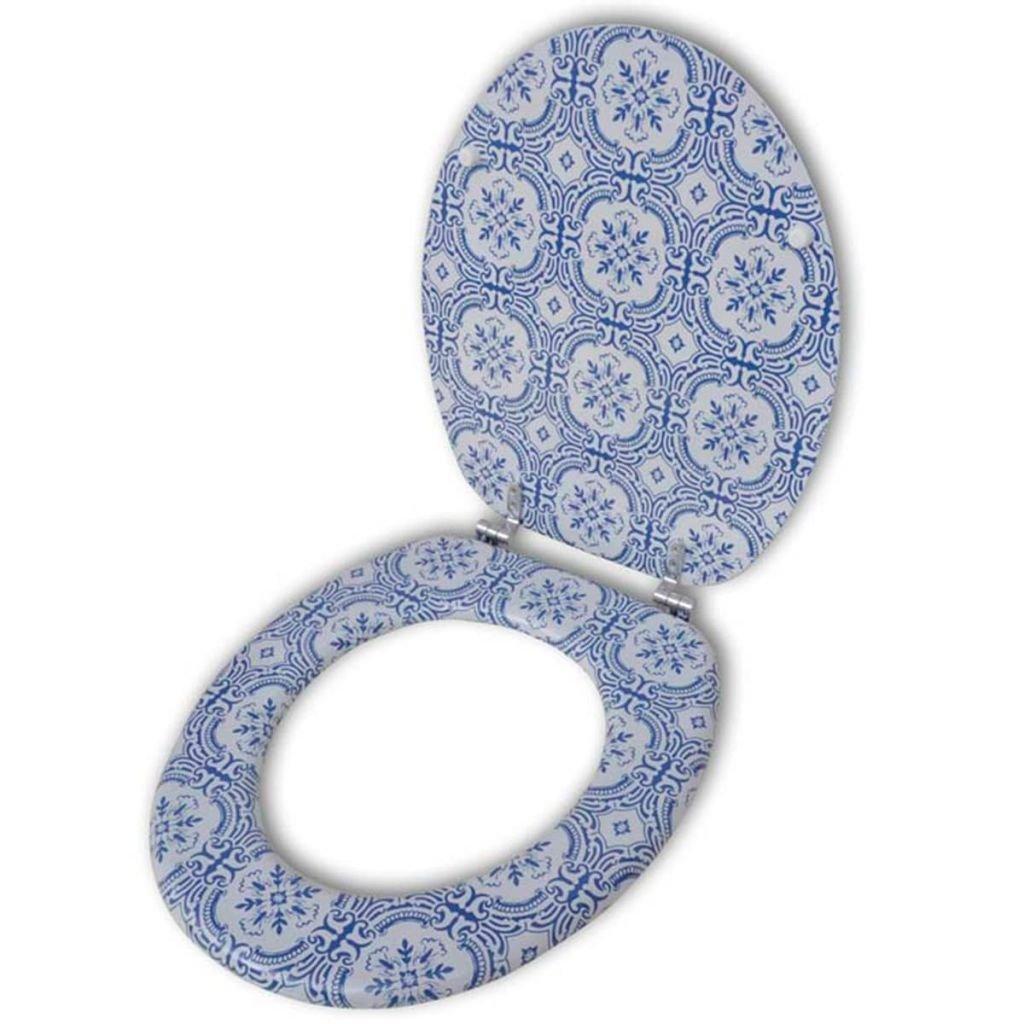 vidaXL Abattant de WC avec couvercle design porcelaine adapté à cuvette de WC commune