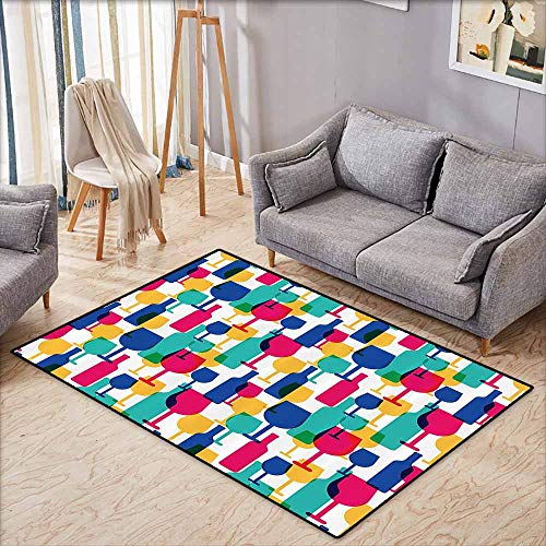 Children's Rugs Playrug Rugs Winery Decor Collection Cocktail Glass and Wine Bottle Pattern Bar Menu Party Alcohol Drinks Festive Image Magenta Navy Hard and wear Resistant W6'5 xL4'6]()
