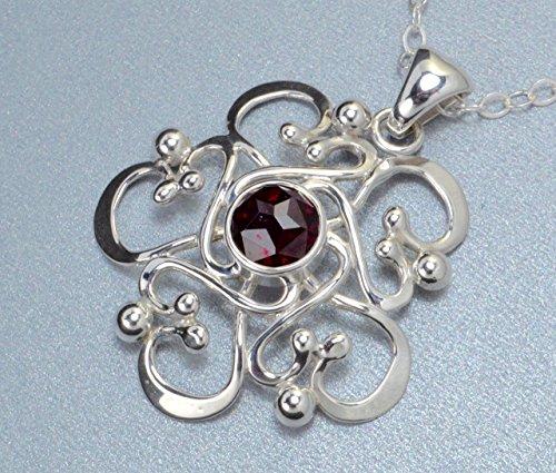 Made In Alaska Rhodolite Garnet Argentium Sterling Silver Filigree Snowflake Mandala Pendant w/ 18 Inch Chain