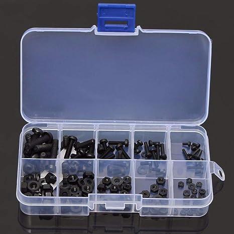 LSLMLLL 150 Unids Kit de Tornillos Hexagonales Tornillo de Nylon Tuerca Separador Espaciador Surtido Conjunto Negro Tornillo Herramienta para M2 M2.5 M3 M4 M5: Amazon.es: Deportes y aire libre