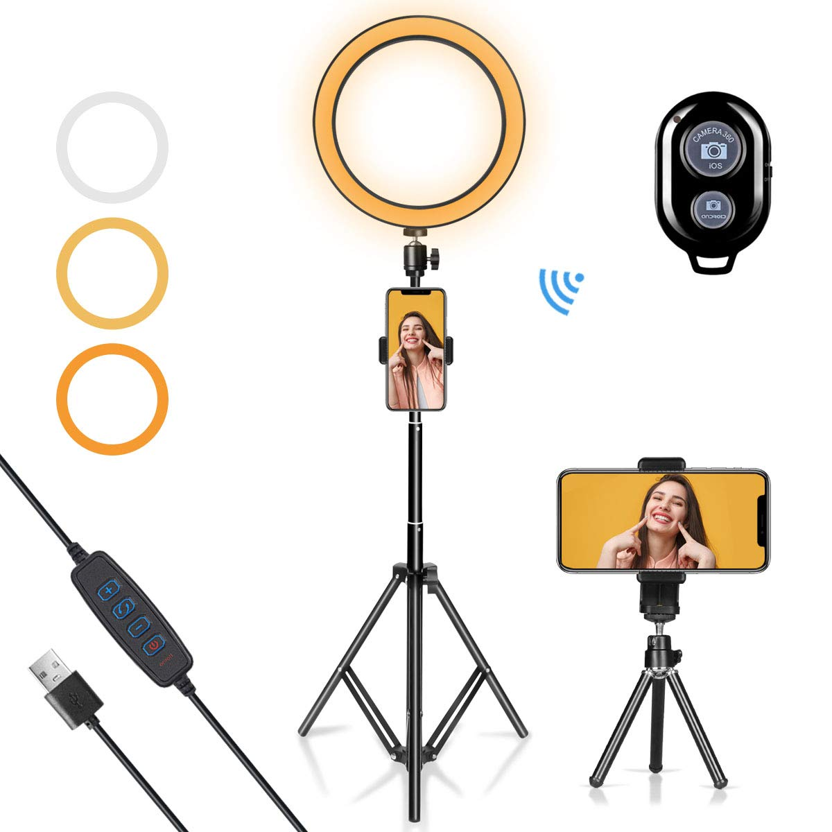 LED Ring Light 10'' with Tripod Stand & Phone Holder for YouTube Video, Desk Selfie Ring Light Dimmable for Streaming, Makeup, Photography Compatible with iPhone Android by AIXPI