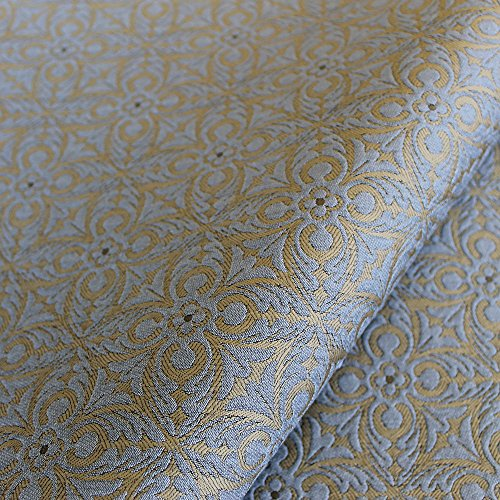 Matelasse Upholstery Fabric (Joseph Noble Sky Blue Bronze French Quatrefoil Pattern Matelasse Upholstery Fabric by the yard)