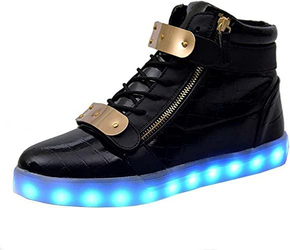 sexphd Kids High top led Light up Shoes Flashing Sneakers for Boys and Girls