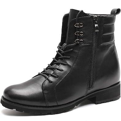 CHAMARIPA Bottes et Bottines Motardes Homme Chaussures Rehaussante  Montantes à Zip Cuir, Plus Grand de