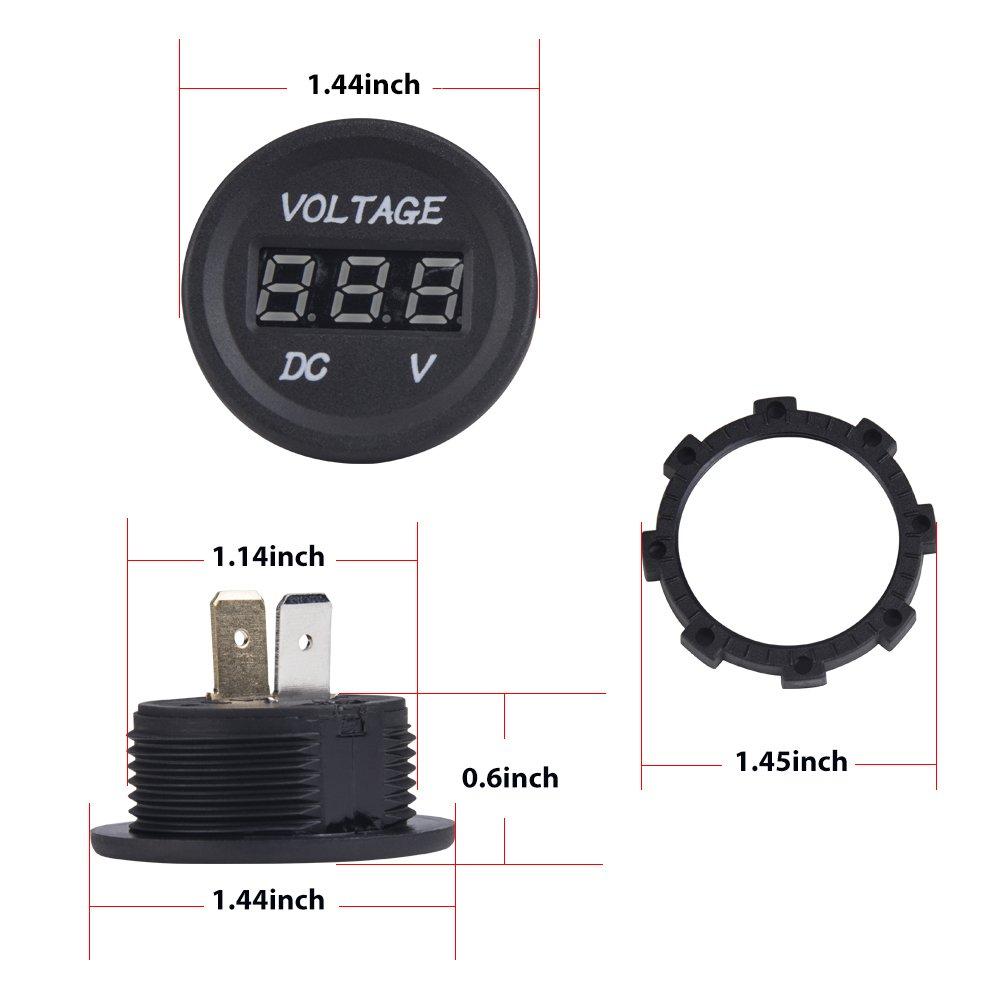 Autopoweplus Dc 12v Led Digital Display Voltmeter Round Wiring Motorcycle Panel Waterproof Boat Marine Battery Voltage Meter For Truck Atv Utv Car
