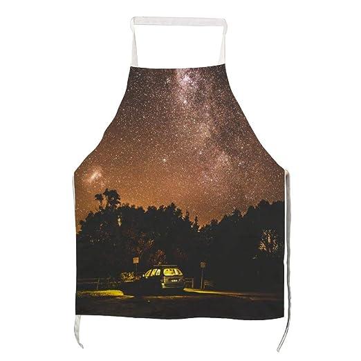 Delantal Milky Way con silueta de árboles y coche para poliéster ...