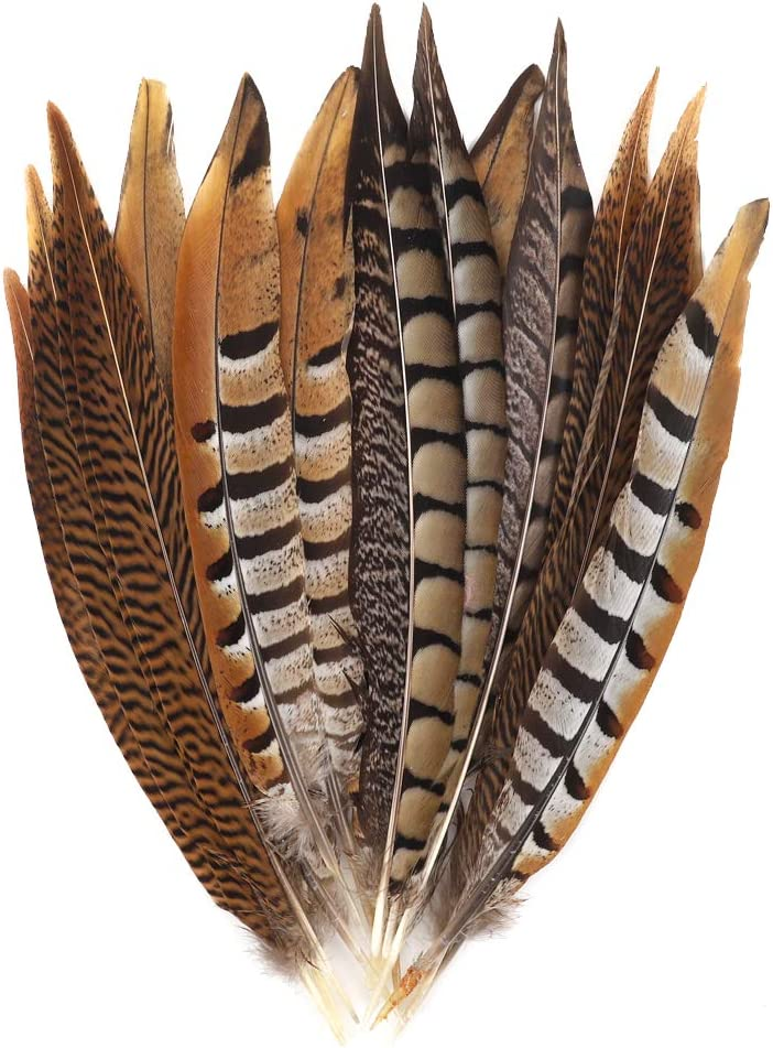 Outuxed 15 pcs Natural Pheasant Feathers for Crafts DIY Feather Tails in 3 Styles 25-30cm