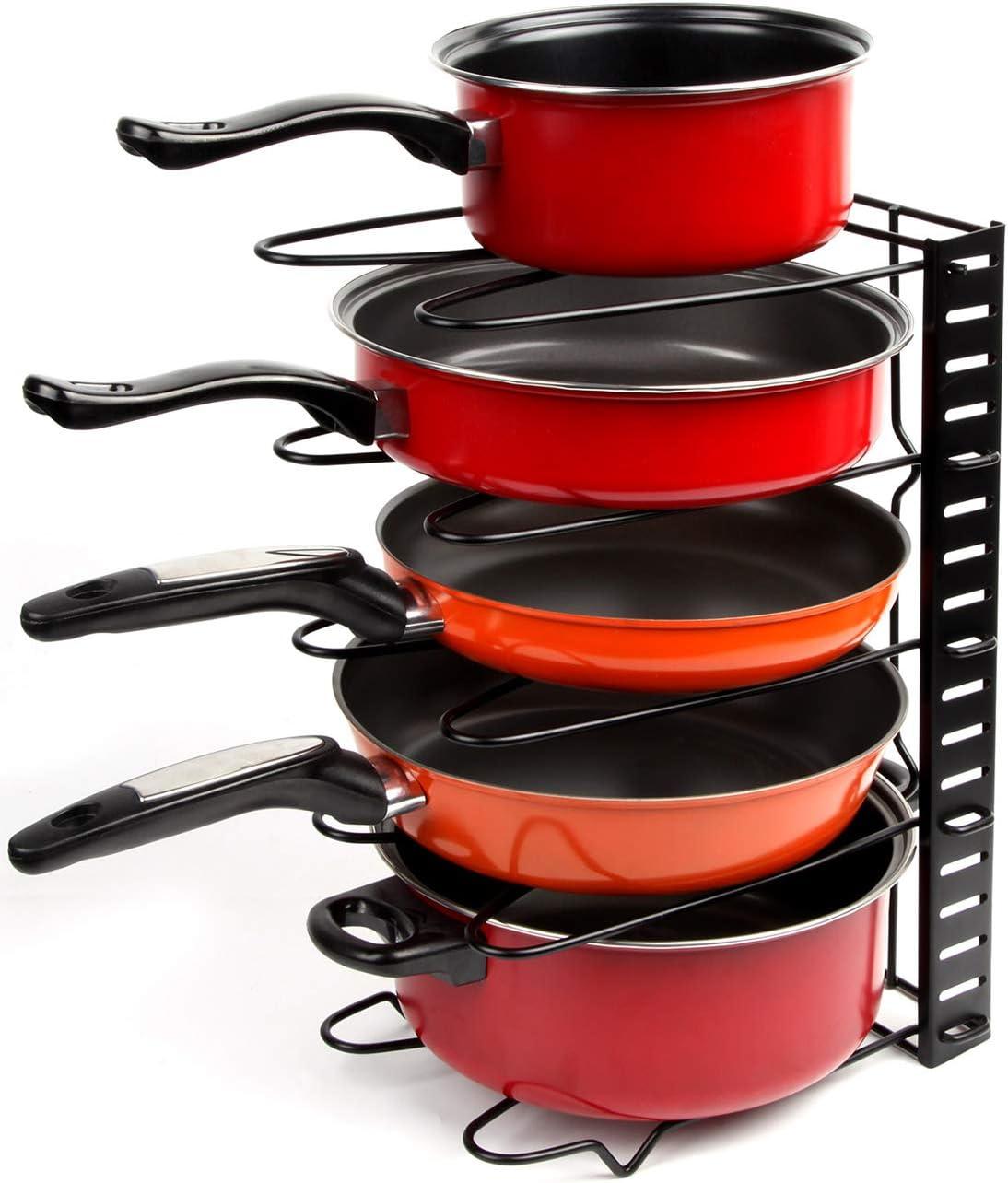 Height Adjustable Pan Organizer Rack, VDOMUS Pan and Pot Lid Holder Black Metal (Black): Home Improvement