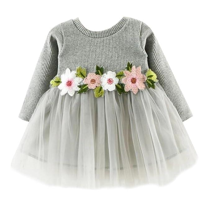 Mädchen Prinzessin Kleid, Baby Mädchen Langarm Brautkleid 0-24 ...