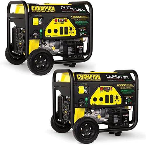 Champion 8000 Watt Portable Electric Start RV Ready Dual Fuel Generator 2 Pack