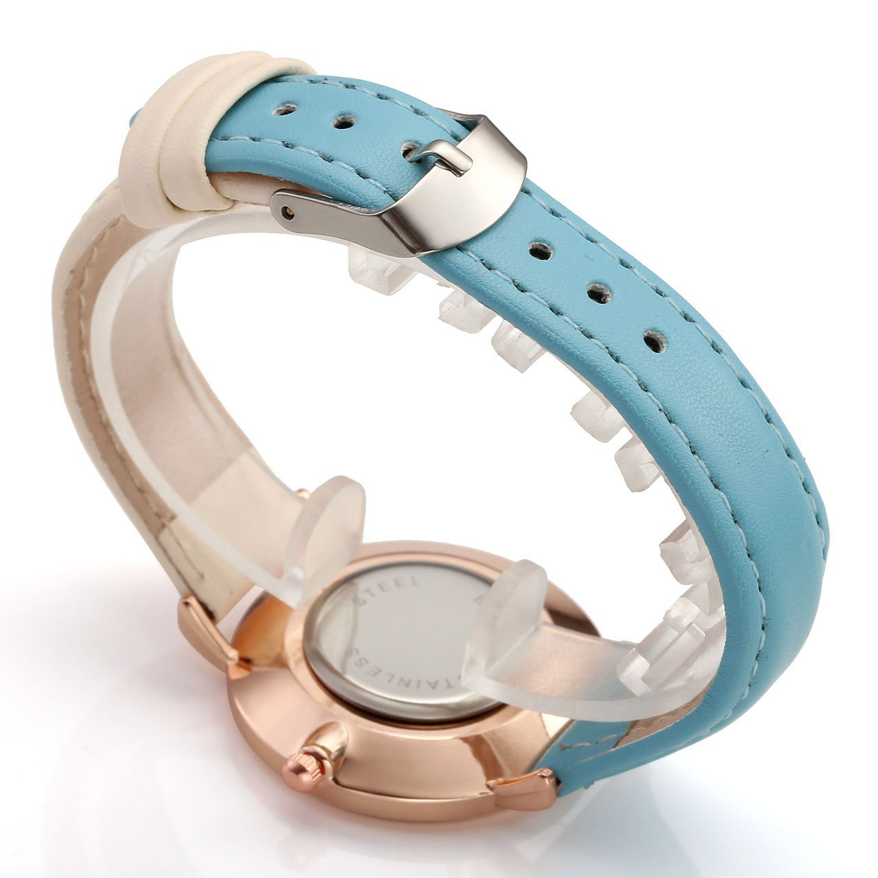 Amazon.com: Top Plaza Womens Ladies Fashion Simple Mixed Color Analog Quartz Wrist Watch Rose Gold Case Pu Leather Strap Dress Watches - Sky Blue and White: ...
