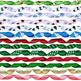 "19 Rolls 135 Yard Christmas Ribbons Trims Printed Grosgrain Ribbons Multicolor Organza Ribbons Satin Ribbons Metallic Glitter Ribbons 3/8"" Wide for Winter Holiday Festival Season Gift Wrapping Party"
