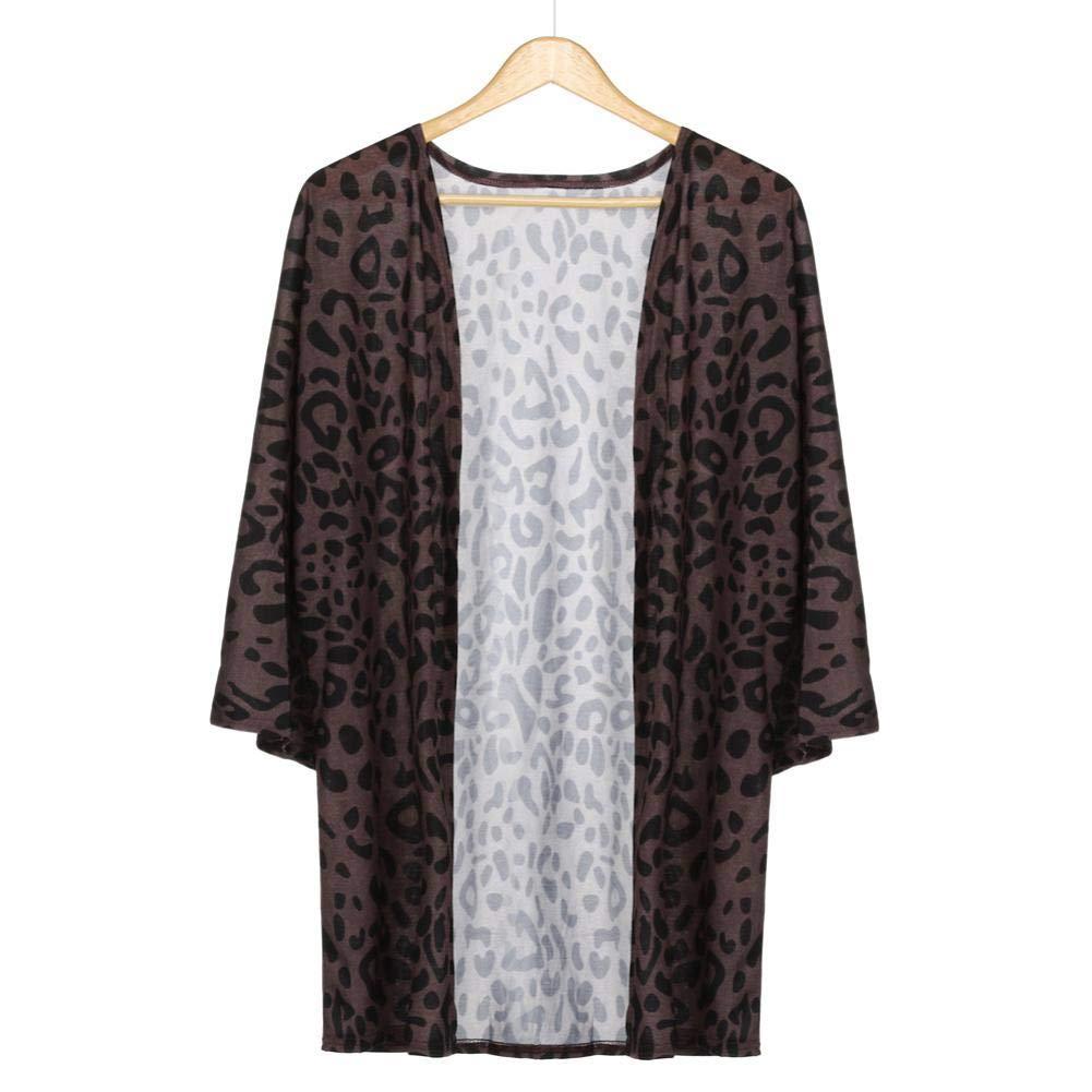 Pandaie Women Jacket,Women Oversize Print Leopard Cardigan Long Shawl Tops Blouse Outwear Coat M