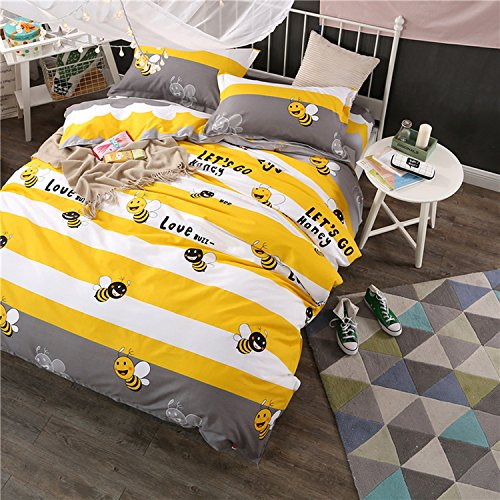 WarmGo Home Bedding for Adult Kids Yellow White Stripe Bee Pattern Duvet Cover Set 4 Piece Full/Queen Size Bedding Sets,Not Include Comforter by WarmGo