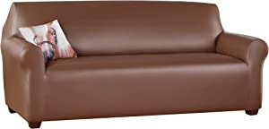 Collections Etc Faux Leather Furniture Stretch Slipcover to Help Protect Furniture from Wear and Tear, Spills and Pet Hair