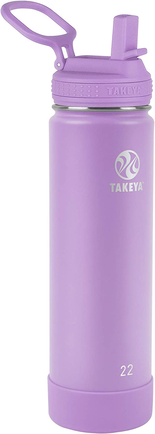 Takeya Actives Insulated Water Bottle w/Straw Lid, Lilac, 22 Ounces
