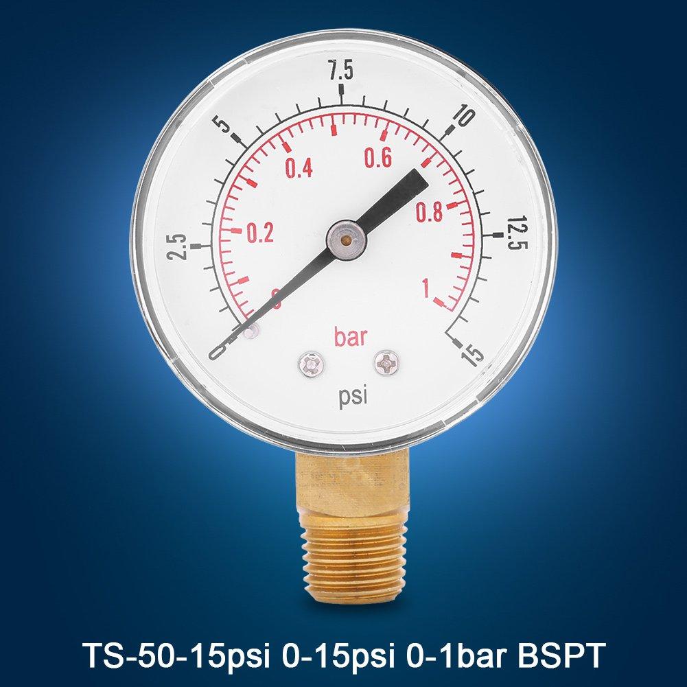 0-1bar BSPT FTVOGUE Mini Rosca de Presi/ón de 1//4BSPT Rosca para Combustible Aire Aceite o Agua 0-15psi