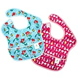 Bumkins Disney Baby Waterproof SuperBib 2 Pack, Princess (Ariel/Princess Silhouette) (6-24 Months)