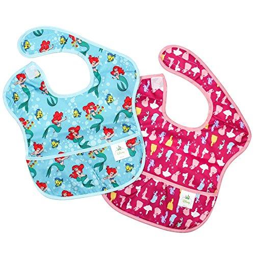 Bumkins Disney Baby Waterproof SuperBib 2 Pack, Princess (Ariel/Princess Silhouette) (6-24 Months) by Disney