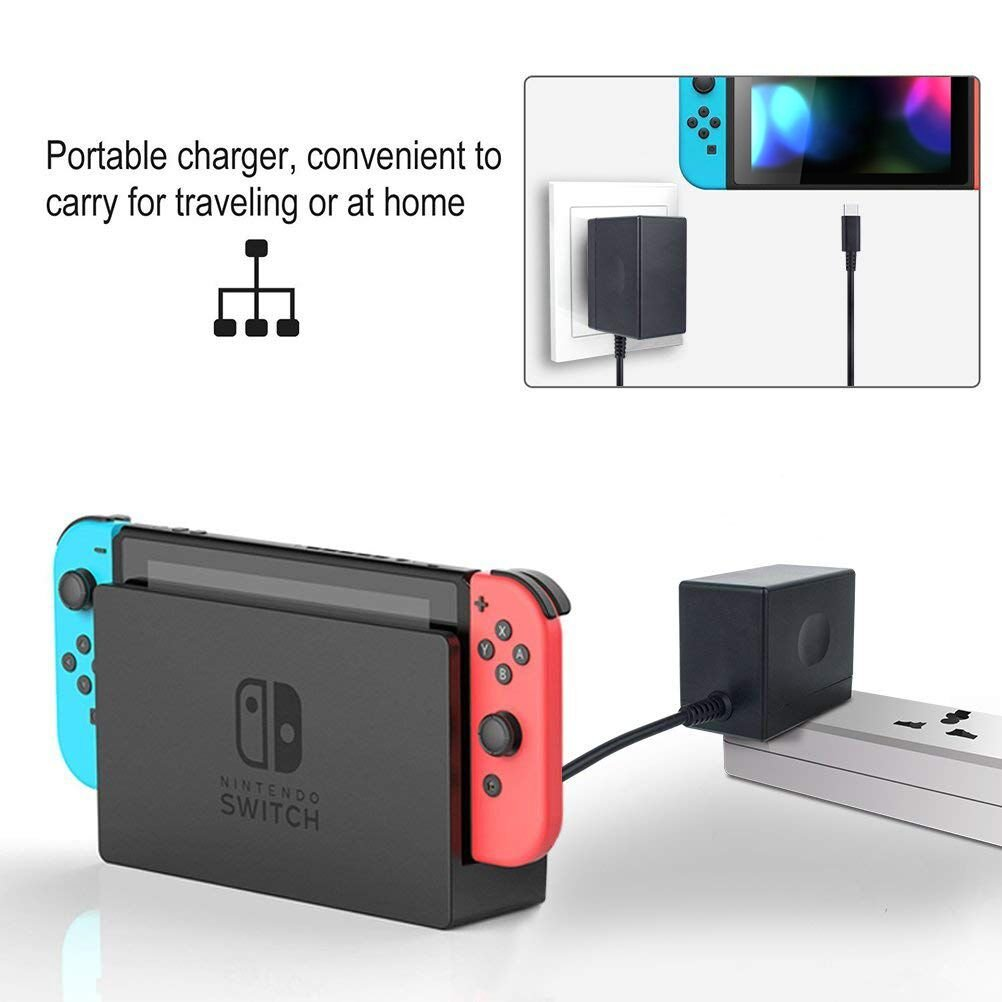 AC Power Adapter for Nintendo Switch . YTEAM USB Type C PD Charger Power Supply Compatible with Switch Console. 5FT/1.5M Power Cord and Fast Charging Kit for N-Switch Dock / Pro Controller and Suppor