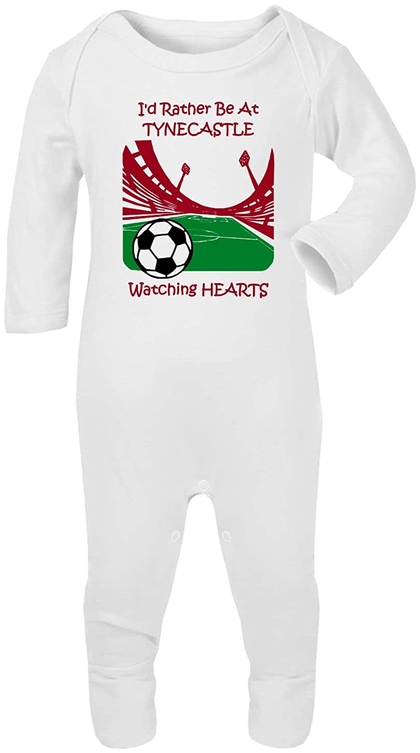Hat-Trick Designs Hearts Football Baby Romper Sleep Suit-White-Id Rather Be-Unisex Gift