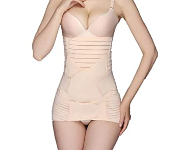 8bcebd5abc37a 1Set 3 in 1 Beige Striped Abdomen Pelvis Hip Stomach Binder Postnatal Belly  Waist Slim Shaper