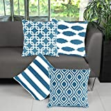 Willow & Smith 100% Pure Cotton Teal Cushion Covers for Sofa 18 x 18 Throw Pillow Case Set of 4 with Geometric Patterns Home Decor