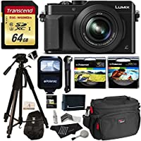 Panasonic LUMIX LX100 12.8 MP Point and Shoot Camera with Integrated Leica DC Lens Black + Transcend 64GB + Polaroid 72