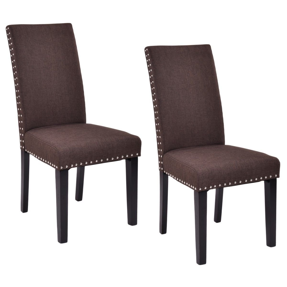 Giantex Set of 2 Dining Chairs Fabric Upholstered Armless Accent Home Kitchen Furniture (Brown)