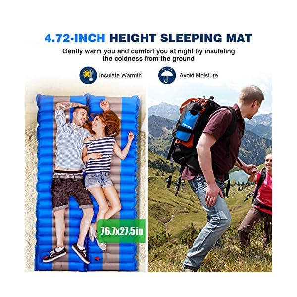 SGODDE Isomatte Camping Selbstaufblasbare,Handpresse Aufblasbare,leichte Rucksackmatte für Wanderungen zum Wandern auf…