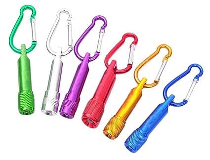 6 Paquetes mini LED llavero linterna, MAXIN luz de la antorcha con pilas, super mini linterna linterna, para acampar, senderismo, caza, mochilero, ...