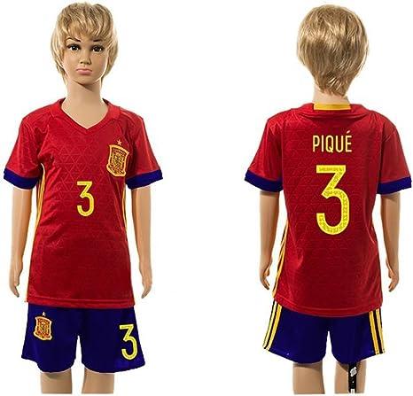 Top Venta de España 3 Gerard Pique Home para niños Kid jóvenes camiseta de fútbol juegos en rojo, Infantil, rojo, XXS: Amazon.es: Ropa y accesorios