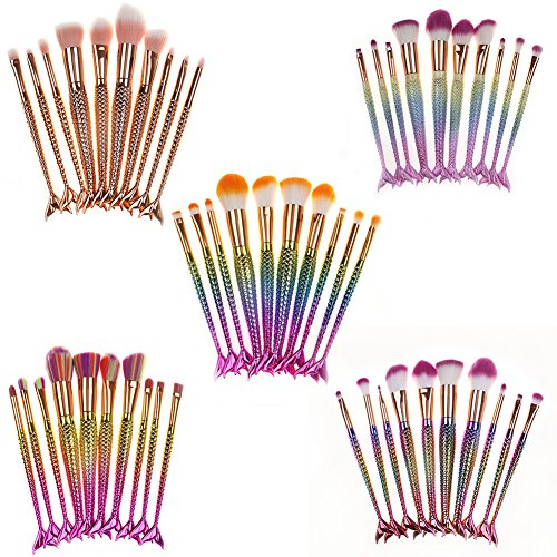 10pcs Mermaid Makeup Brush Set Soft Synthetic Cosmetics Tools for Woman Multicolor Gradient by LassieBeauty (Image #6)