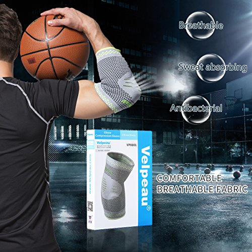 Elbow Brace Compression Sleeve with Gel Pads Support for Tendonitis, Tennis Elbow & Golf Elbow Treatment, Arthritis, Reduce Joint Pain During Any Activity for Women & Men by Velpeau (Large) by Velpeau (Image #2)