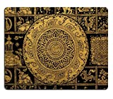 Liili Mouse Pad Natural Rubber Mousepad Thai arts and Buddha wheel symbol background Photo 1305755